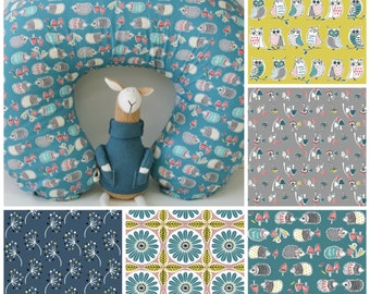 Organic Boppy Cover, Organic Nursing Pillow Cover, Hedgehogs, Owls, Toadstools, Organic Cotton Nursing PIllow Cover