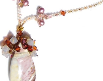 Bermuda Sunset Gemstone Pearl and Crystal Necklace