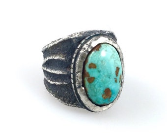 Tufa Cast  Silver and Royston Turquoise Ring
