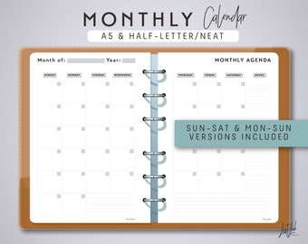 A5 2-page MONTHLY PLANNER - Printable Planner Inserts - Neat Theme / Printable PDF - fits Filofax A5, Kikki K Large