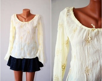 Vintage Embroidered Sequined Blouse, size M-L /36-38/