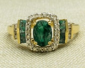 Vintage Style 14K Yellow Gold 0.85ct Natural Oval Green Emerald Gemstone & Diamond Halo Unique Elegant Engagement Ring Size 9 FREE SHIPPING!