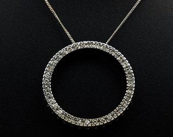 "Beautiful Elegant 10K White Gold Women's 0.50ctw Round Circle Natural Diamond Pendant & 19"" Curb Chain - 3.1 grams FREE SHIPPING!"