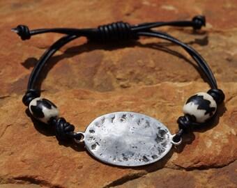 Leather Bracelet, Mens Bracelet, African Trade Bead Bracelet, Black Leather, Unisex Bracelet