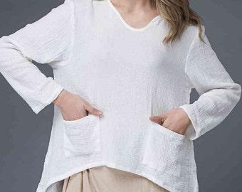 White V-Neck T-Shirt – Classic Linen Casual Long-Sleeved Spring/Summer Blouse Women's Top (C866)
