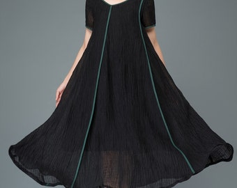 Plus Size Dress - Black Linen Loose-Fitting Casual Summer Dress with Turquoise Piping Detail C925