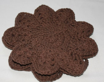 Cotton Dishcloth Set - Crocheted Dish Cloths - Cotton Wash Cloths - Brown - Set of 3