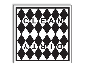 Clean Dirty Dishwasher Magnet 2.5 x 2.5 Inches Black and White Diamonds Style Christmas Gift Idea Stocking Stuffer Party Favors Novelty Item