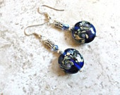 Dark Blue Floral Glass Earrings & Butterfly