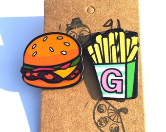 Kawaii Hamburger and Fries Stud Earrings Food Earrings Snack Earrings Fastfood Earrings