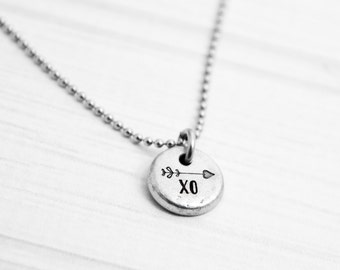 XO - Arrow Hand Stamped Dainty Pewter Necklace - Hand Stamped Jewelry - Inspirational Jewelry - Gift for Mother, Daughter, Sister