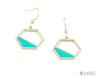 Hexa earrings in teal || Gilded with 24 carat gold