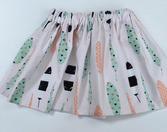 Peach and mint feather Baby Skirt...feather Toddler Skirt... Baby Skirt.. Toddler Skirt.... Arrow s