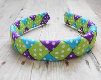 Polka Dot woven headband for American Girl and other 18 inch dolls