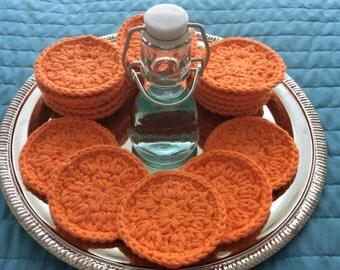 20 reusable cotton facial rounds in Orange
