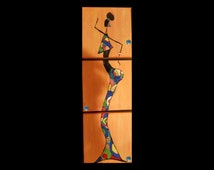 Hand painted African Abstract Acrylic Jewelry Painting Beautiful Cultures - Summer Skirt