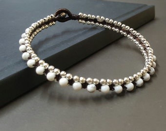 Silver  Woven  Howlite  Anklet