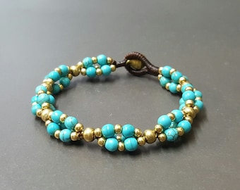 Group Brass Turquoise Bracelet