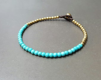 Round Turquoise  Single Chain Anklet