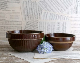 Vintage Brown Stoneware Mixing Bowls, Ribbed Brown Mixing Bowl, Brown Crock Mixing Bowls, Rustic Farmhouse Decor, Country Kitchen Decor