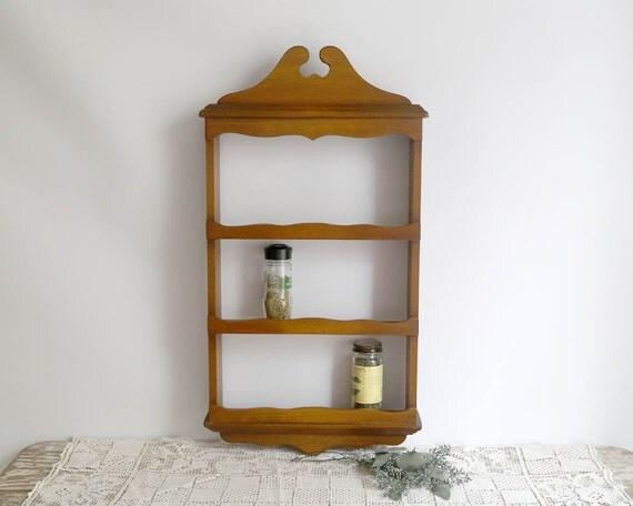 Vintage Wooden Spice Rack Knick Knack Shelf Wood Wall Shelf