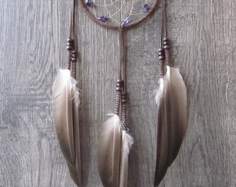 Dream Catcher Chocolate Brown Suede with Duck Feathers ~ Cruelty Free