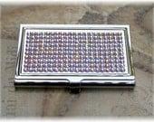 Austrian Swarovski Rhinestone Crystal Bling Clear Aurora Borealis Business Card Case Holder