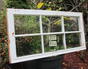32 x 17 Vintage Window sash old 6 pane from 1950s Arts& Crafts