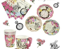 Alice in wonderland vintage party ~ mad hatter Garden party ~ Vintage Alice birthday ~ party for 12/24 ~  REDUCED ~ baby shower ~ pck 3
