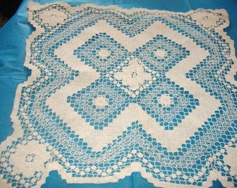 Vintage Square Floral Center Ecru Doily with Scalloped Edges - 19 Inches x 19 Inches - Destash