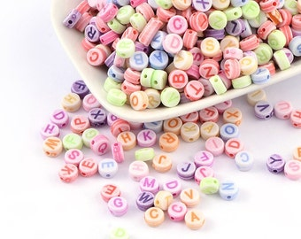 Letter Beads Alphabet Beads Assorted Colors Bulk Beads Wholesale Beads 100 pieces 7mm