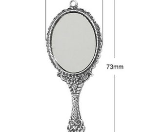 Mirror Pendants Real Mirror Vintage Hand Mirror Pendants with Glass Ornate 5 pieces 73mm