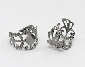 Ring Blanks Adjustable Rings Black Gunmetal Wholesale Rings BULK 100 pieces Blank Rings PREORDER