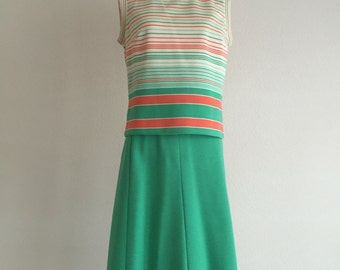 Vintage Orange & Greet Skirt Suit