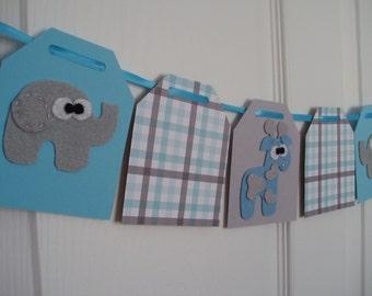Elephant and Giraffe Baby Shower Banner, Paper and Felt Garland, Felt Safari Bunting, Nursery Decor, Elephant, Giraffe, Light Blue, Gray