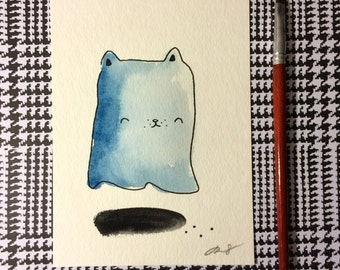 "Halloween Watercolor Painting ""Ghost Cat 3"", 5x7 inches decoration."