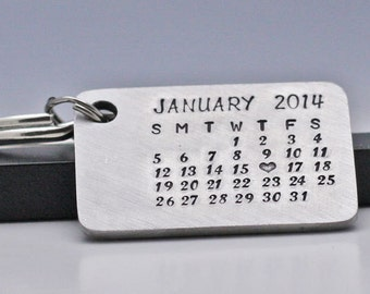 Personalized Calendar Keychain Hand Stamped Calendar Anniversary Ring Personalized Jewelry Personalized Baby