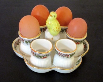 Limoges Vintage French Porcelain Chicken Egg Holder - Comes with Six Matching Egg Cups - Country Kitchen Farmhouse  -  Complete Egg Service