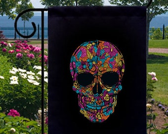 Gothic Flower Skull New Small Garden Flag Events Gifts Day of the Dead