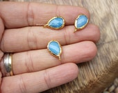 blue chalcedony teardrop bezel charm pear pendant drop  faceted 12mm gold plated supplies