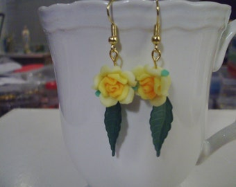 Yellow Rose Earrings - Free Shipping