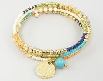 Colorful Boho Bracelet Multicolor Bead Bangle Bracelet Turquoise Bangle Bracelet Gold White Blue Wrap Bracelet Memory Wire Bracelet |BB2-5