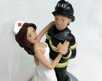Custom Firefighter and Nurse Wedding Cake Topper,  Bride and Groom from your ideas and photos