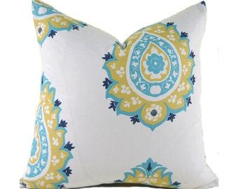 Pillow Covers ANY SIZE Decorative Pillows Yellow Pillows Premier Prints Damask Saffron Coastal Blue