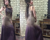Ready to Ship OOAK Ombre Goddess Dress Organic Hemp and Cotton Blend Dyed with Herbs