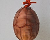 Handmade Copper Wire Wrapped Easter Eggs - Pysanky - Brown