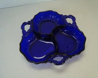 Vintage Large Blue Cobalt Glass Candy or Condiment Dish