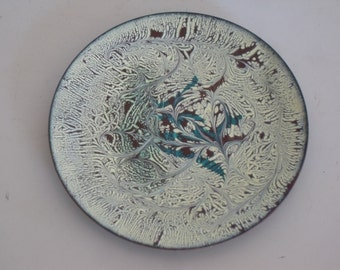 Vintage Enamel on Copper Dish / Tray