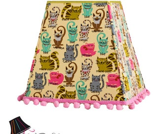 Custom Lamp Shades / Cat Lovers - MADE TO ORDER - Cats Lamp Shade with 100% Cotton Cat-themed Fabric