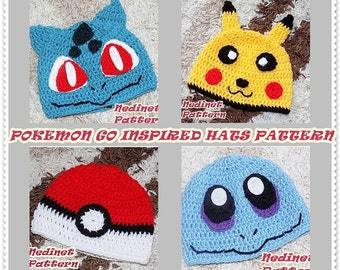 CROCHET PATTERN Pokemon Inspired Pikachu and Pokeball, Squirtle, Bulbasaur inspired crochet hat, Pdf Pattern, baby to adult hat